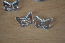 Acrylic Mirror Butterflies 100 Engraved personlised message for wedding birthday