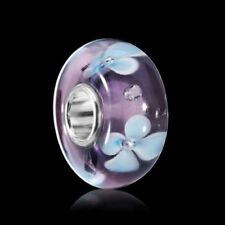 MATERIA Zirkonia Beads 925 Silber Blumen Element - Murano Glas Bead lila blau