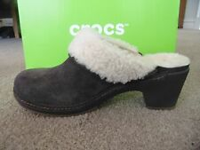 NEW CROCS SARAH LUXE LINED SLIP ON Women SUEDE Espresso Fur Clog BROWN Size US 7