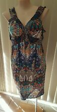 NWT AUTOGRAPH COLOURFUL SHOULDER STRAP DRESS HAS A FEATHER PRINT SIZE 22