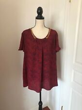 Michael Kors Red Navy Blue Blouse Top 2X 18/20 **FREE SHIPPING**