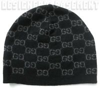 GUCCI black & charcoal GG 100% Cashmere knit BEANIE Skully hat NWT Auth ONE SIZE