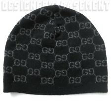 GUCCI black with charcoal GG 100% Cashmere knit BEANIE SKI Skully hat NWT Authen