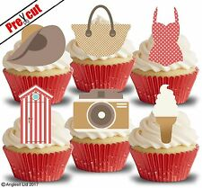 PRE-CUT VINTAGE RETRO SUMMER ACCESSORIES EDIBLE WAFER CUP CAKE TOPPER DECORATION