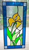Vintage Stained Glass Window Leaded Glass Iris Flower Blue Green Yellow