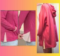 LOGO Lounge Lori Goldstein Size 2X Pink Full Zip Jacket w/ Hood, Pleated Chiffon