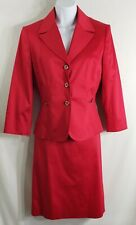 TAHARI Arthur S Levine Red Career Skirt Suit 2 Pc Womens Size 6 NWT
