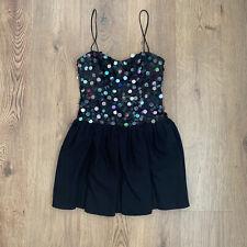 Topshop 8 Vestido Negro Corsé Fit llamarada Mini con Tiras Corpiño De Lentejuelas Fiesta Baile de graduación