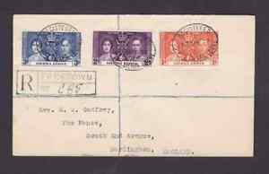 Sierra Leone 1937 registered FDC 1st day cover to England KGVI coronation