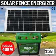 NEW 40km 2.5J Solar Power Electric Fence Energizer Charger for poly wire tape po