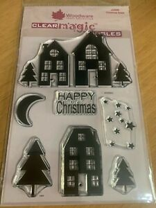 WOODWARE CRAFT COLLECTION CLEAR MAGIC SINGLES, Happy Christmas NEW