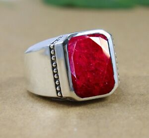 Ruby Gemstone Solid 925 Sterling Silver Husband Gift Mens Ring Jewelry
