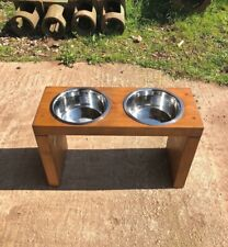 Wooden Dog Bowl Stand - 35cm - Medium Oak