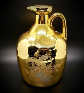 Vintage (1930s) Japanese Gold Gilt Porcelain Peacock Motif Vase / Pitcher