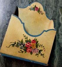 Sweet Antique Floral Tole Painted Letter Box Holder Wall Desk Storage Rack