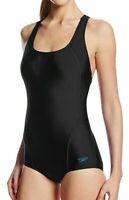 Speedo Deep Black Women's Size 14 Crossback Sport One-Piece Swimwear $68 #374