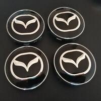 4x 60mm Mazda noir argent jantes couvercle moyeux capuchon alu roue enjoliveur