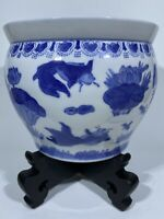 "Chinese Chinoiserie Porcelain Blue & White Floral& Koi Planter 8""x 9.25"" Stand"