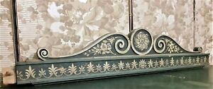 Flower scroll leaf gingerbread painted pediment Antique french crest cornice