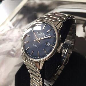 Mens Rotary Dress Watch AVENGER Navy Blue Steel Vintage GB02874/05 Genuine