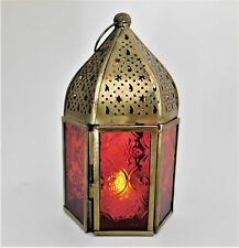 Arabic Style T-Lite Lantern Moroccan Brass & Red Glass Candle Lamp with Door NEW