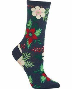Hot Sox - POINSETTIA (Denim) - 1 Pair Women's Socks (Size 9-11) - HS-X-00068