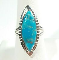 925 STERLING SILVER ELONGATED ETCHED DESIGNS TURQUOISE SIZE 8 RING