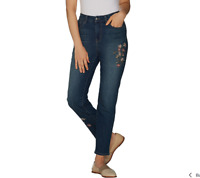 Studio by Denim & Co. Regular Slim Leg Ankle Jeans w Embroidery Medium Indigo 10