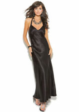 Satin Nightgown Long Black Red Solid Gown Halter Style S-3X ELEGANT MOMENTS NEW