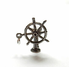 Vintage 1970's Sterling Silver 925 MOVING SHIP BOAT WHEEL Charm Pendant 3.5g