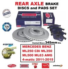 FOR MERCEDES ML250 ML350 ML500 ML63 AMG 2011-2015 REAR BRAKE PADS + DISCS 345mm