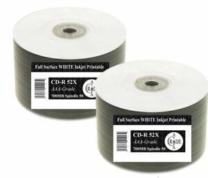 100 RiTEK-oem Full-face White Inkjet Printable Blank CD-R Discs 52x AAA+1414