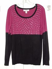 NEW BY DESIGN PINK & BLACK STUDDED TOP LONG SLEEVE SWEATER SIZE XL