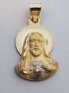 14k Tri Tone Real Gold-Sagrado Corazon-Jesus Face Religious Pendant Charm