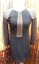 Women's AKRIS LBD Black Lace Long Sleeve Dress 2 zip Pockets Switzerland Size 8