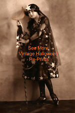 Vintage Prim Halloween Photo of Woman in Star Moon Wand Costume Antique RePrint