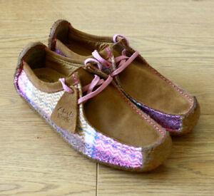 Clarks Ladies Originals Natalie Elfed Tweed Wool & Brown Suede Shoes UK 5 D