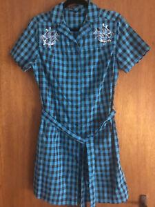 Sourpuss blue checkered dress XL
