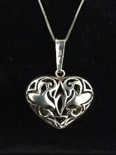 "Filigree Heart Necklace Pendant with 29"" Sterling Silver Chain"