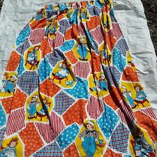 """2 Raggedy Ann Andy Bobbs Merrill Curtains Set Vintage Patchwork Quilt Look 74"""""""