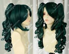 Maid Short Dark Green Black Cosplay Wig + 2pc Curly tail wig