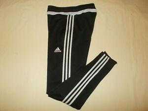 ADIDAS CLIMACOOL BLACK W/WHITE STRIPES ATHLETIC PANTS WOMENS SMALL EXCELLENT