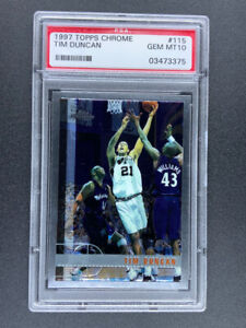 1997-98 Topps Chrome Tim Duncan #115 RC Rookie PSA GEM MINT 10 Mint Hall of Fame
