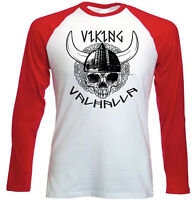 VIKING SKULL 2 - NEW RED SLEEVED TSHIRT