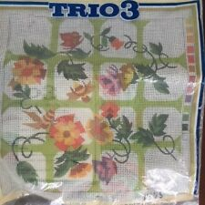 Trio 3 Needlepoint Kit Vintage Vines Bees Flowers Trellis 70s Style Orange Green