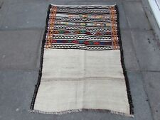 Old Hand Made Traditional Persian Oriental Wool Cream White kilim 150x98cm