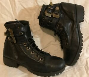 Ladies Black Ankle Leather Lovely Boots Size 39 (846Q)