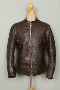 Rare Vtg 60s SCHOTT PERFECTO Steerhide Café Racer Leather Jacket Brown Men's M