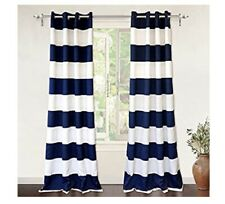 "Navy & White Striped Curtains 52"" X 84"""
