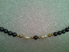 Gold Filled Barrel Bead Hematite and Fresh Water Pearl Necklace